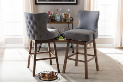 Baxton Studio Gradisca 2-pc. Upholstered Tufted Swivel Bar Stool