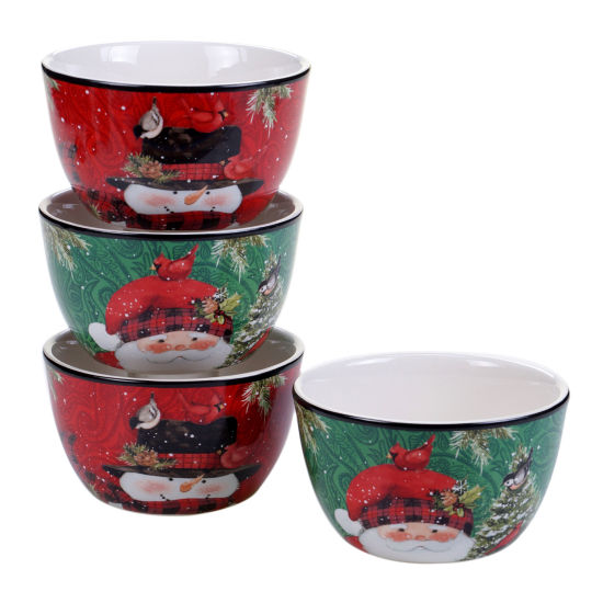 Certified International Winters Plaid 4-pc. Ice Cream Bowl