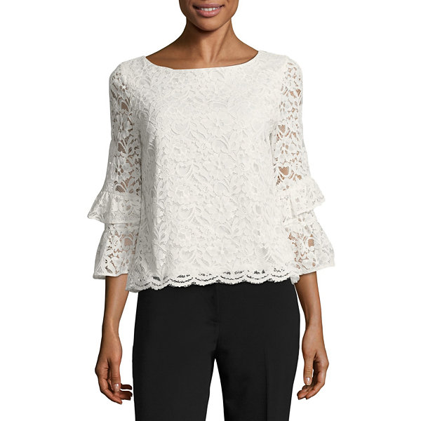 Liz Claiborne Tiered Bell Sleeve Lace Blouse