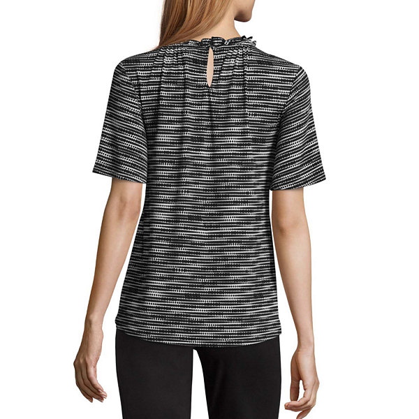 Worthington Short Sleeve Ruffle Neck Top