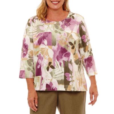 Alfred Dunner Palm Desert 3/4 Sleeve Patch Fern T-Shirt- Plus