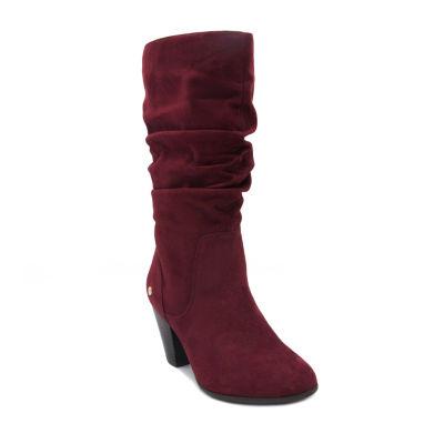 Gloria Vanderbilt Womens Graham Slouch Boots Stacked Heel Pull-on