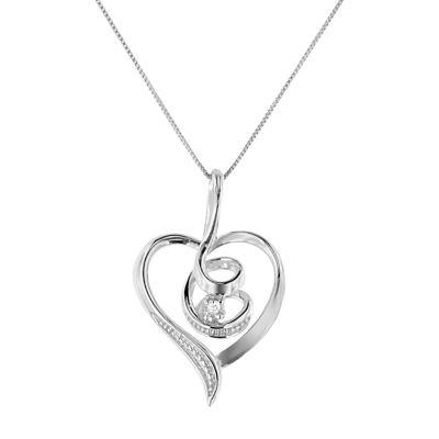Womens Diamond Accent White Diamond 10K White Gold Heart Pendant Necklace