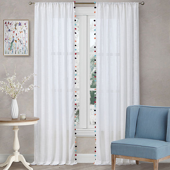 Home Expressions Pom Pom Sheer 2 Pack Sheer Rod-Pocket Curtain Panel