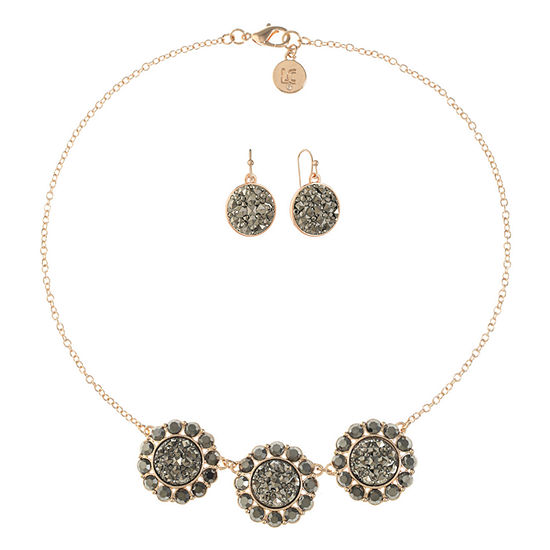 Liz Claiborne Gray Rose Tone 2-pc. Jewelry Set
