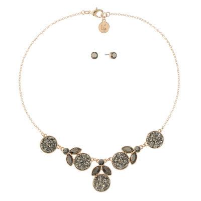 Liz Claiborne Gray Rose Tone 2-pc. Jewelry Set