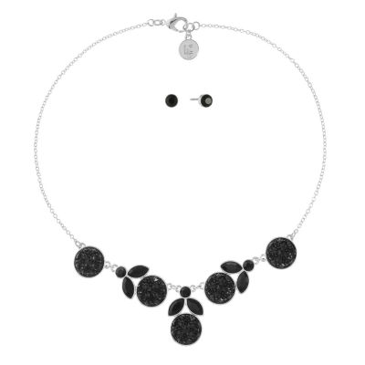 Liz Claiborne Black Silver Tone 2-pc. Jewelry Set