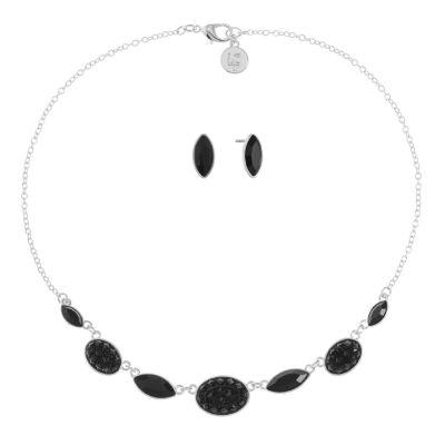 Liz Claiborne Black Silver Tone 2-pc. Jewelry Set