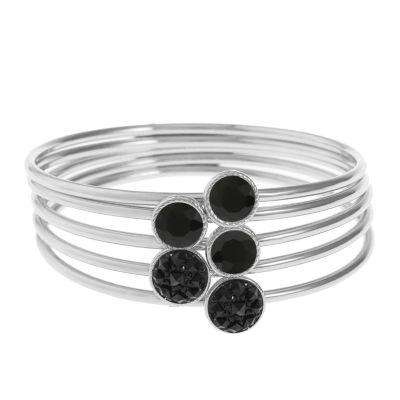 Liz Claiborne Black Silver Tone Bangle Bracelet