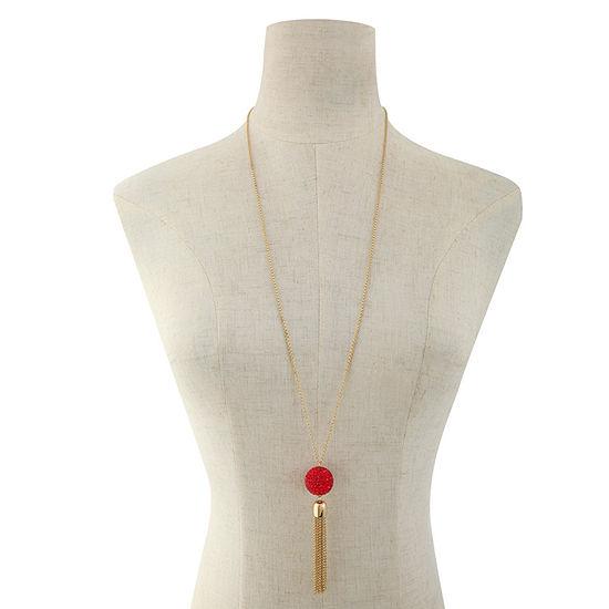 Liz Claiborne Red 32 Inch Cable Pendant Necklace