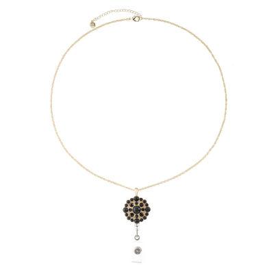 Monet Jewelry Id Clip Womens Black Pendant Necklace