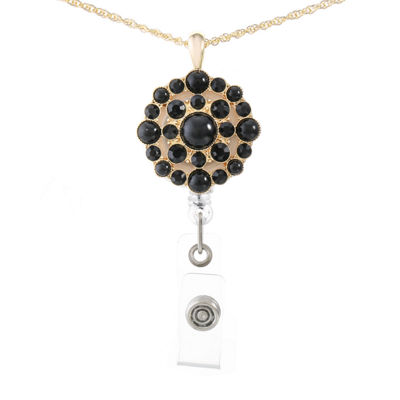 Monet Jewelry Id Clip Womens Black Pendant Necklace