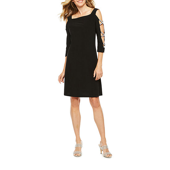 MSK 3/4 Sleeve Embellished Shift Dress