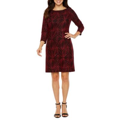 Jessica Howard 3/4 Sleeve Geometric Shift Dress