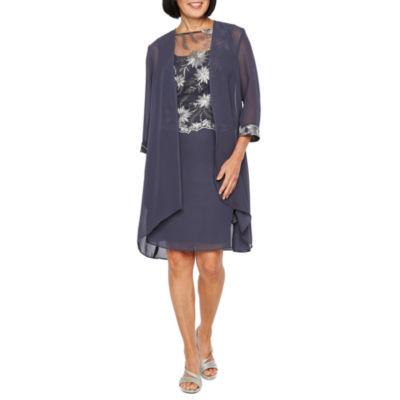 Maya Brooke 3/4 Sleeve Embroidered Jacket Dress