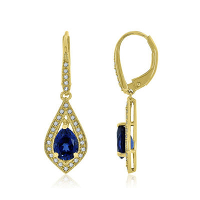 Lab Created Blue Sapphire 14K Gold Over Silver Drop Earrings