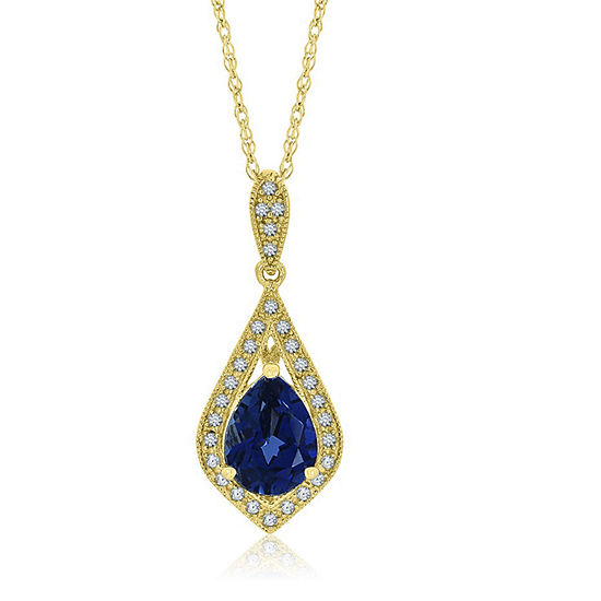 Womens Lab Created Blue Sapphire 14K Gold Over Silver Pendant Necklace