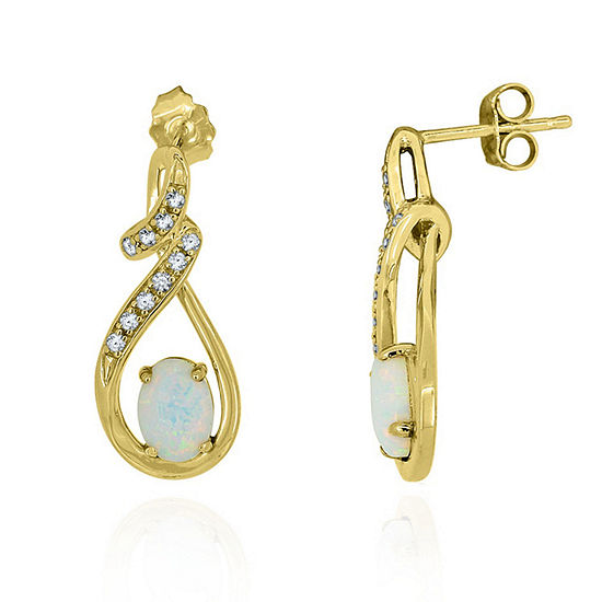 Lab Created White Opal 14K Gold Over Silver Round Drop Earrings