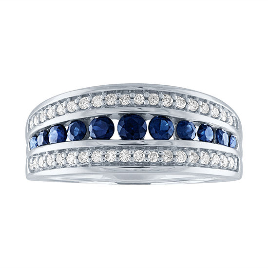 Modern Bride Gemstone Womens 1 5 Ct Tw Genuine Blue Stone 10k White Gold Engagement Ring