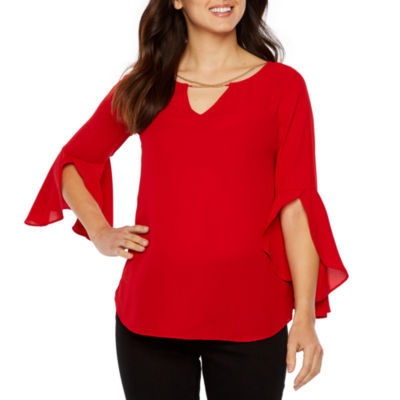 Bold Elements Long Sleeve Round Neck Woven Blouse