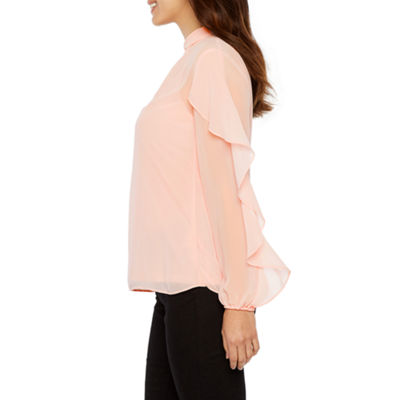 Bold Elements Long Sleeve Key Hole Neck Chiffon Blouse