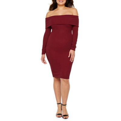 Premier Amour Long Sleeve Off The Shoulder Sheath Dress