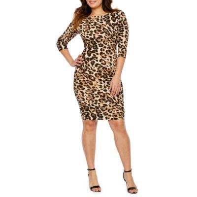 Premier Amour 3/4 Sleeve Leopard Print Sheath Dress