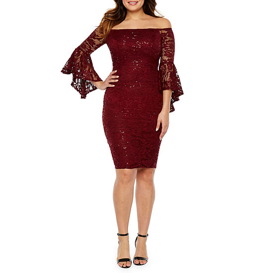 Premier Amour 3/4 Bell Sleeve Off The Shoulder Sequin Lace Sheath Dress