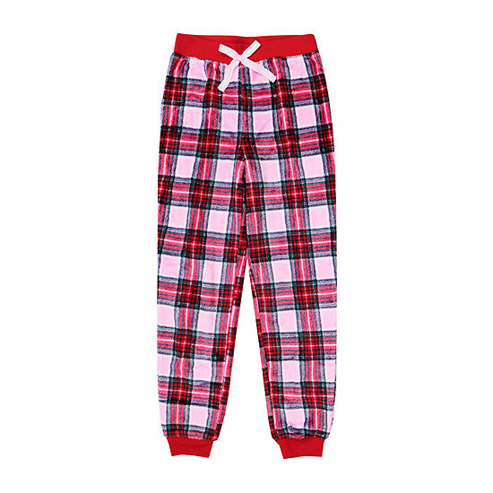 Arizona Jogger Fleece Pink Plaid Sleep Pant - Girls 4-16