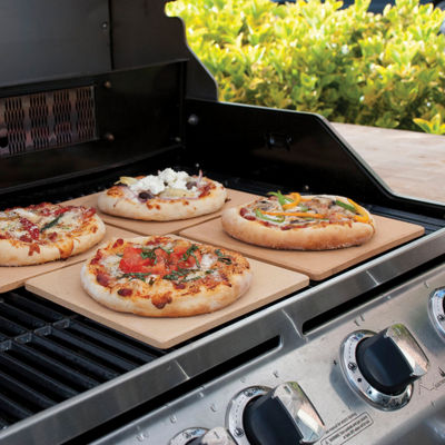Charcoal Companion® Set of 4 Square Mini Pizza Stone Tiles