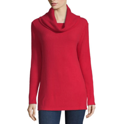 Liz Claiborne Long Sleeve Cowl Neck T-Shirt-Womens