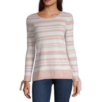 Liz Claiborne Womens Round Neck 3/4 Sleeve Stripe Pullover Sweater
