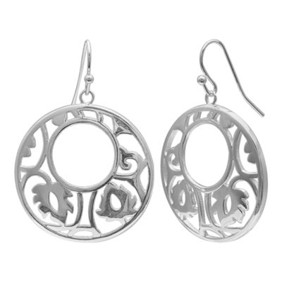 Silver Reflections Silver Plated 30mm Filigree Round Pure Silver Over Brass Round Drop Earrings
