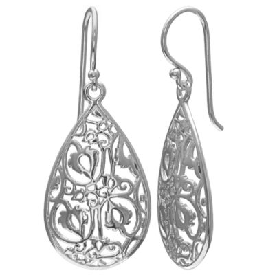 Silver Reflections Pure Silver Over Brass Pear Drop Earrings