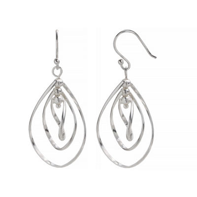 Silver Reflections Silver Plated Wire Pure Silver Over Brass Pear Drop Earrings