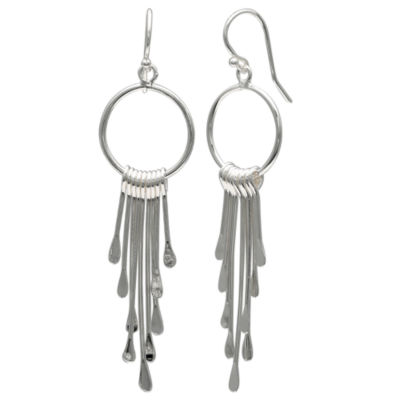 Silver Reflections Silver Plated Paddle Pure Silver Over Brass Oblong Drop Earrings