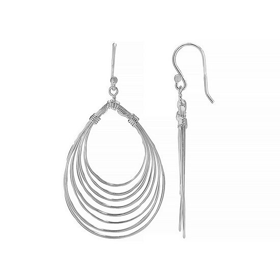 Silver Reflections 1 Pair Pure Silver Over Brass Pear Drop Earrings