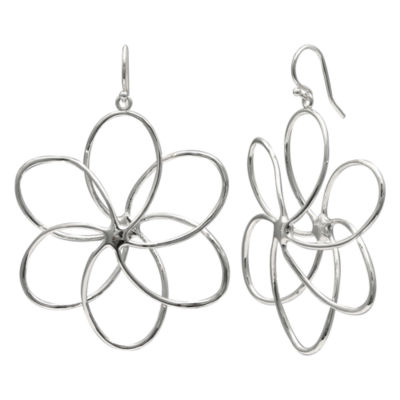 Silver Reflections Pure Silver Over Brass Flower Drop Earrings