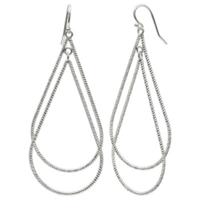 Silver Reflections Silver Plated Diamond Cut Pure Silver Over Brass Pear Drop Earrings