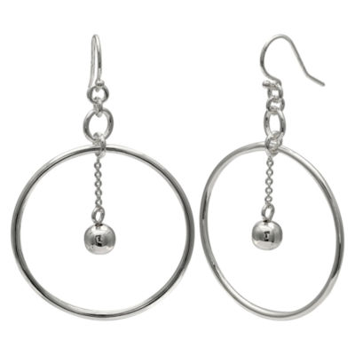 Silver Reflections Silver Plated Circle Ball Pure Silver Over Brass Round Drop Earrings