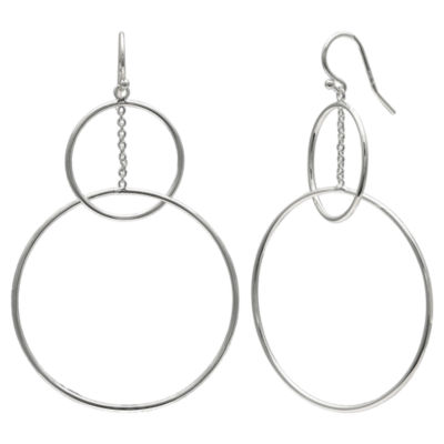 Silver Reflections Pure Silver Over Brass Round Drop Earrings