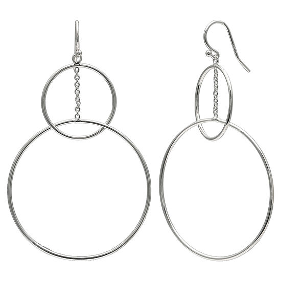 Silver Reflections 1 Pair Pure Silver Over Brass Round Drop Earrings