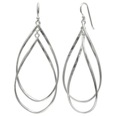 Silver Reflections Silver Plated Double Oval Pure Silver Over Brass Oval Drop Earrings