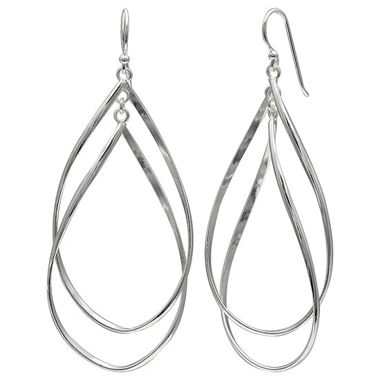 Silver Reflections Silver Plated Double Oval Pure Silver Over Brass Drop Earrings