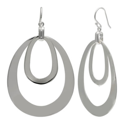 Silver Reflections Silver Plated Double Ct Oval Pure Silver Over Brass Oval Drop Earrings