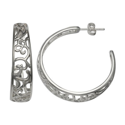 Silver Reflections Silver Plated Filigree 35mm C Pure Silver Over Brass 35mm Round Hoop Earrings