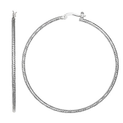 Silver Reflections Silver Plated St 60mm Diamond Cut Pure Silver Over Brass 60mm Round Hoop Earrings