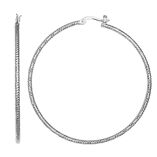 Silver Reflections Silver Plated St 60mm Diamond Cut Pure Silver Over Brass Round Hoop Earrings