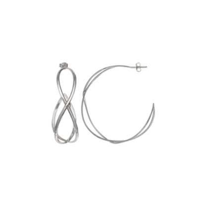 Silver Reflections Silver Plated Crossover Pure Silver Over Brass 30mm Curved Hoop Earrings