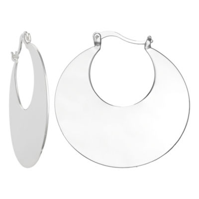 Silver Reflections Pure Silver Over Brass 40mm Round Hoop Earrings